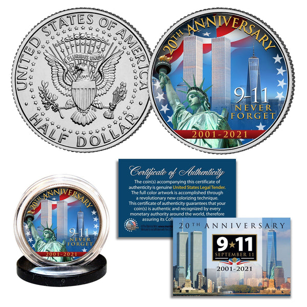 """20th Anniversary WTC"" - Authentic JFK Half Dollar - Proud Patriots"