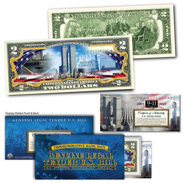 """20th Anniversary WTC"" - Genuine Legal Tender U.S. $2 Bill - Proud Patriots"