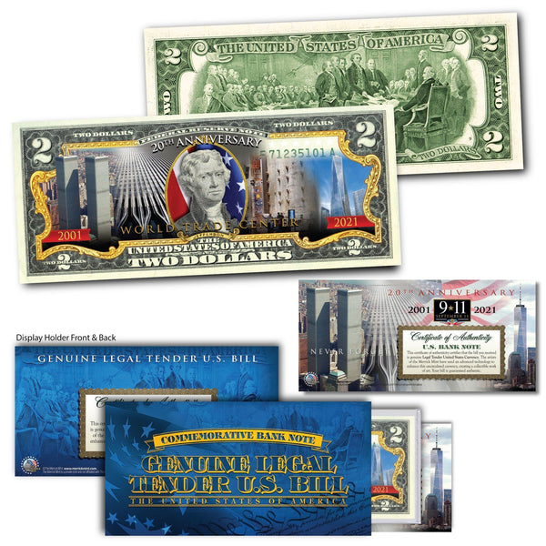 """20th Anniversary WTC""(Jefferson) - Genuine Legal Tender U.S. $2 Bill - Proud Patriots"