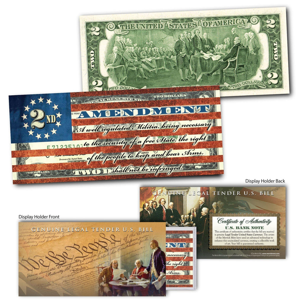 """2nd Amendment"" (Flag) - Genuine Legal Tender U.S. $2 Bill - Proud Patriots"
