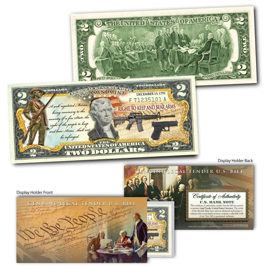 """2nd Amendment"" - Genuine Legal Tender U.S. $2 Bill"