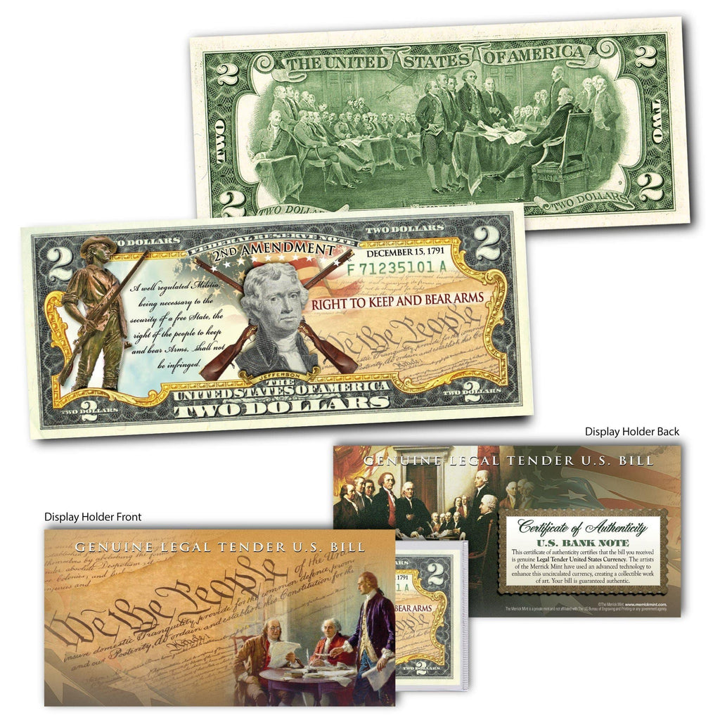 """2nd Amendment""(Rifles) - Genuine Legal Tender U.S. $2 Bill - Proud Patriots"