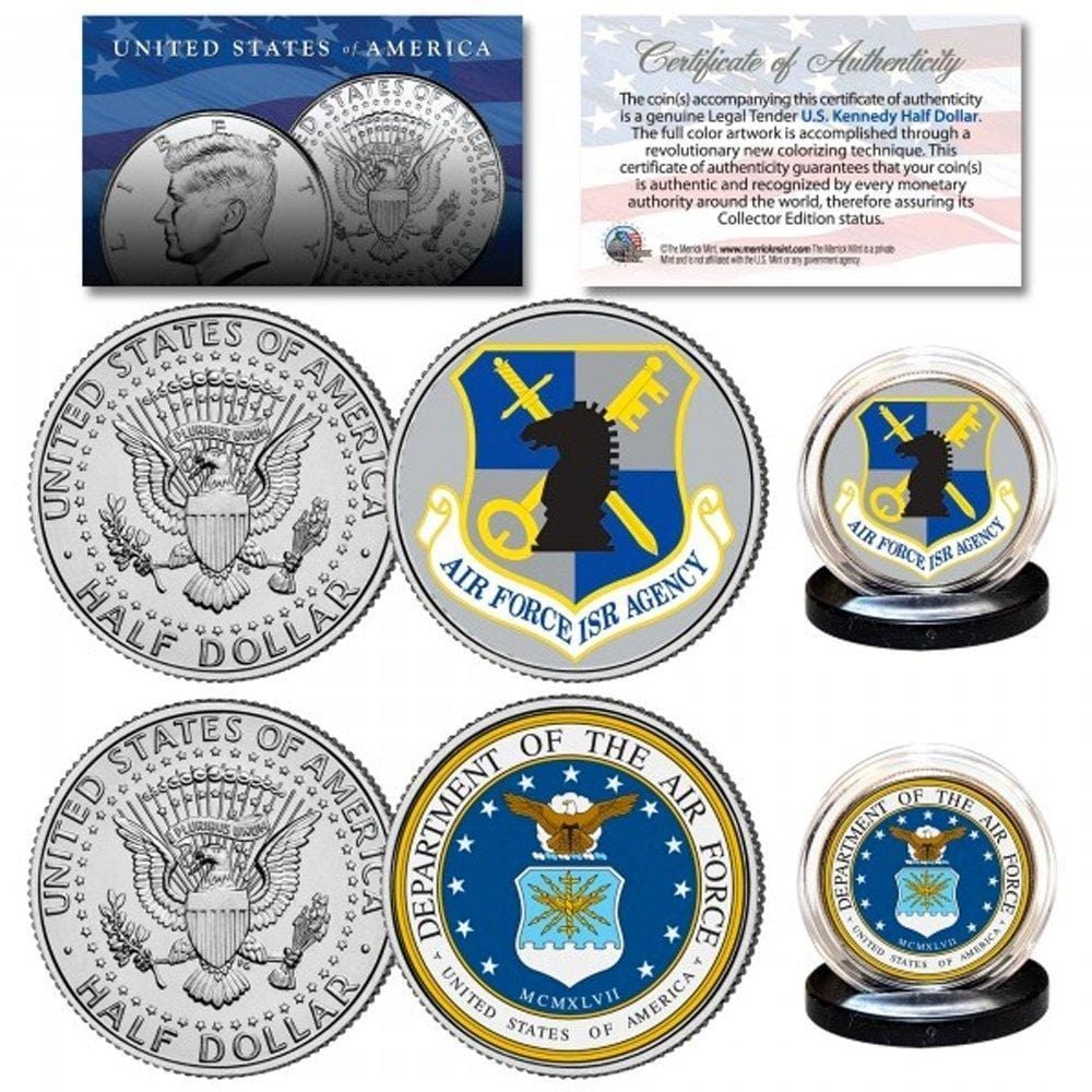 Air Force & USAF Intelligence Branch Authentic JFK Half Dollar 2-Coin Set - Unicorn Politics Shop