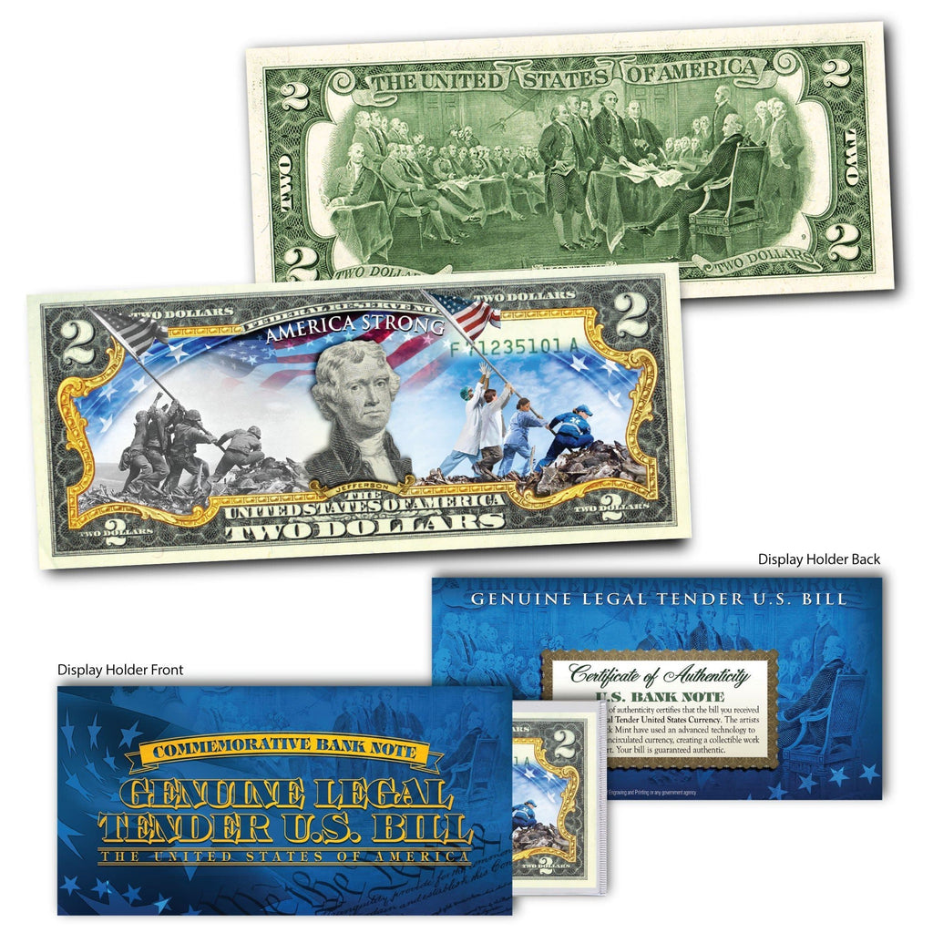 America Strong - Genuine Legal Tender U.S. $2 Bill - Proud Patriots
