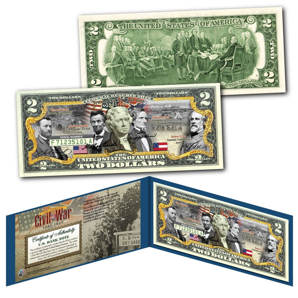"""American Civil War"" - Genuine Legal Tender U.S. $2 Bill - Proud Patriots"