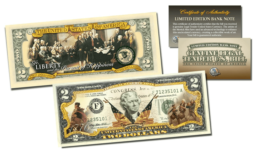 1776-2016 DECLARATION OF INDEPENDENCE * 240th ANNIVERSARY * Genuine Legal Tender U.S. $2 Bill 2-SIDED