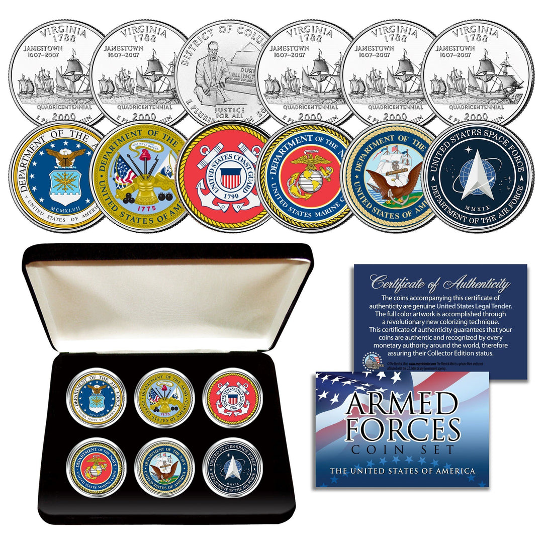 Armed Forces 6-Coin State Quarter Set in BOX - Proud Patriots