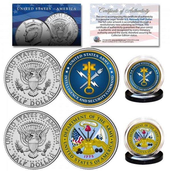 Army & USA Intelligence Branch Authentic JFK Half Dollar 2-Coin Set - Unicorn Politics Shop