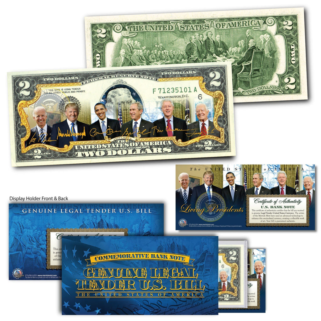 Biden With Living Presidents - Genuine Legal Tender U.S. $2 Bill - Proud Patriots