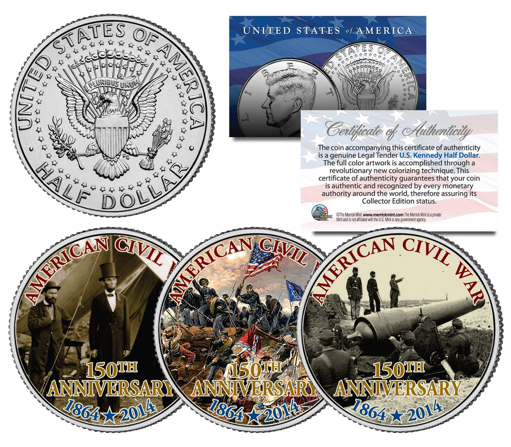 """Civil War"" - Authentic JFK Half Dollar Coin Set - Proud Patriots"