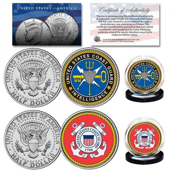 Coast Guard & USCG Intelligence Branch Authentic JFK Half Dollar 2-Coin Set - Unicorn Politics Shop