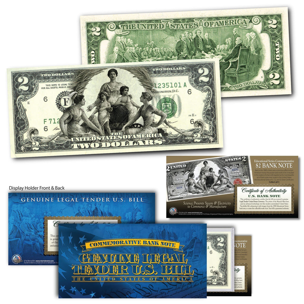 """Commerce and Manufacture"" - Genuine Legal Tender U.S. $2 Bill - Proud Patriots"