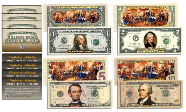 Declaration of Independence 2-Sided Colorized Genuine Legal Tender U.S. Bills *Complete Set $1/$2/$5/$10* - Proud Patriots