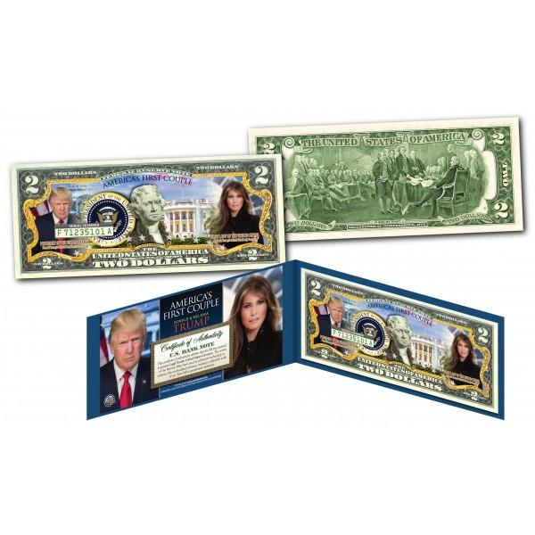 Donald & Melania Trump - America's First Couple - Genuine Legal Tender U.S. $2 Bill - Unicorn Politics Shop