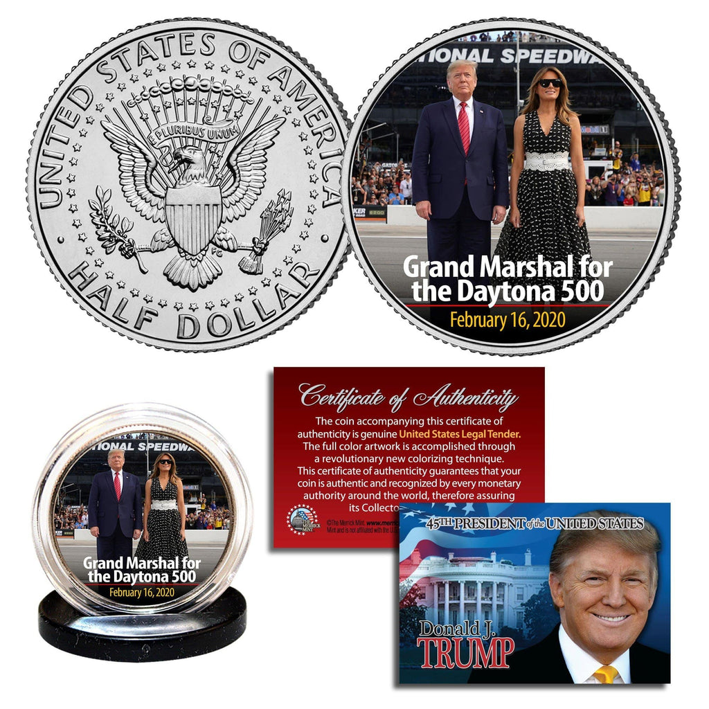 "Donald & Melania Trump (Daytona 500) Authentic JFK Half Dollar ""On The Track"" - Unicorn Politics Shop"