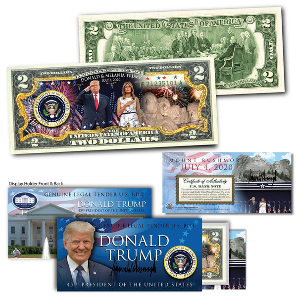 """Donald & Melania Trump - Saluting July 4th"" - Genuine Legal Tender U.S. $2 Bill - Proud Patriots"