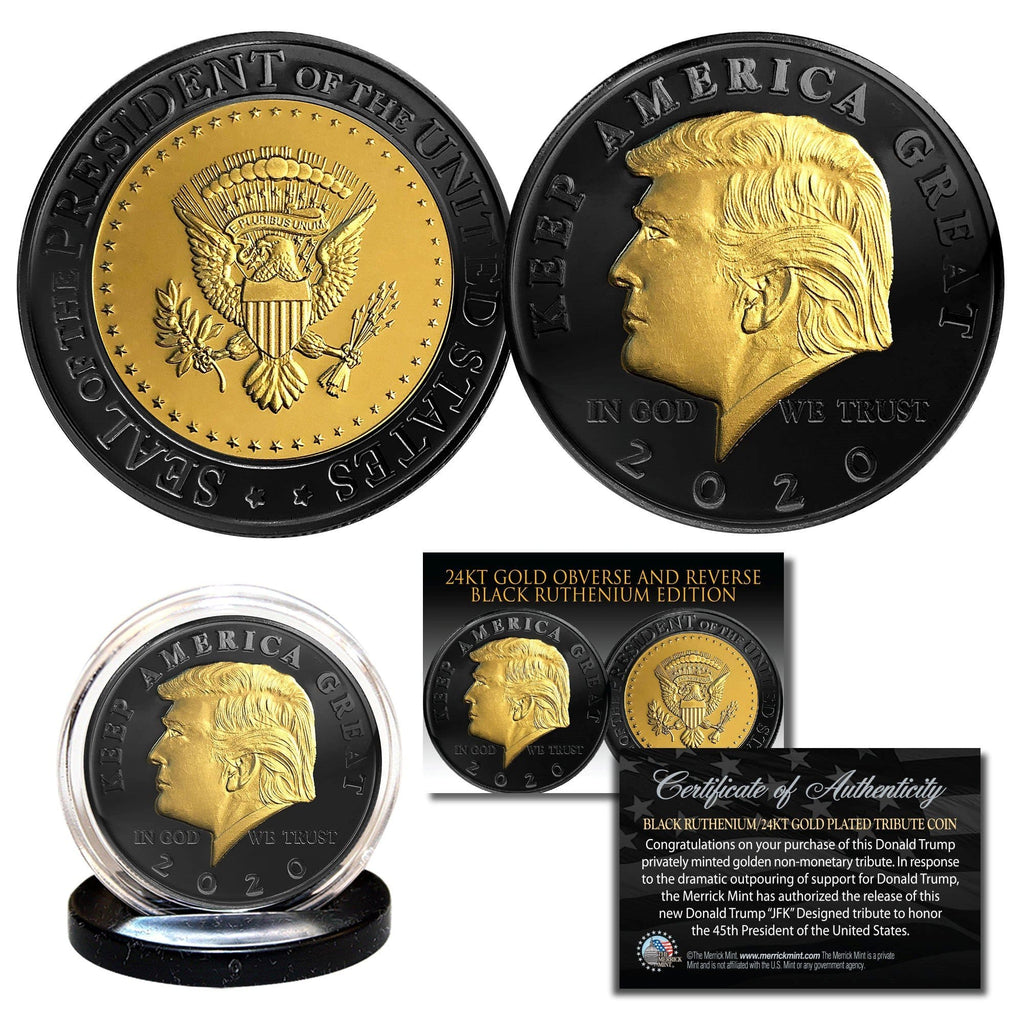 "Donald Trump 2020 ""Keep America Great"" Black ruthenium & 24K Gold tribute coin - Unicorn Politics"