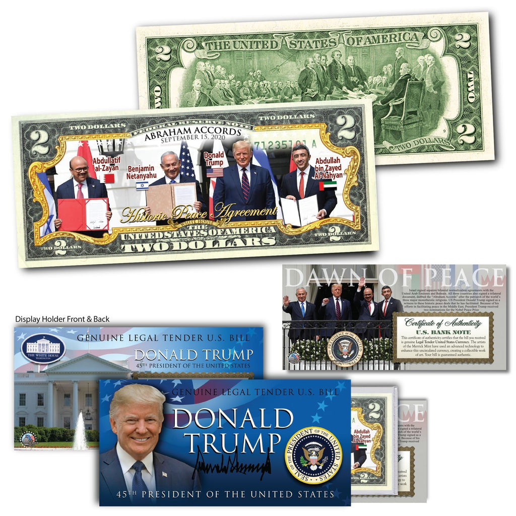 "Donald Trump - ""Abraham Accords"" - Genuine Legal Tender U.S. $2 Bill - Proud Patriots"