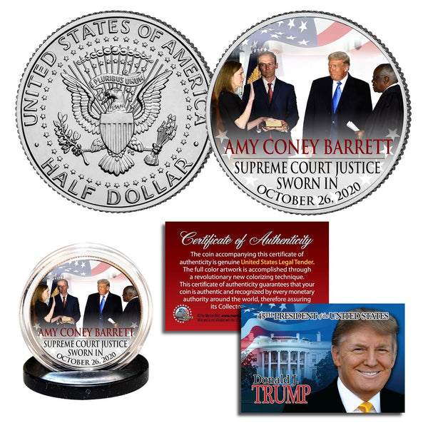 "Donald Trump - ""Amy Coney Barrett Supreme Court"" - Authentic JFK Half Dollar - Proud Patriots"
