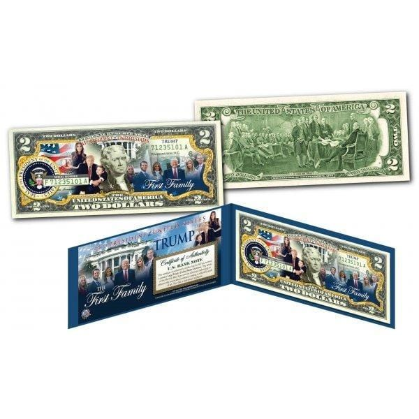 Donald Trump and First Family Auuthentic Two Dollar Bill - Unicorn Politics