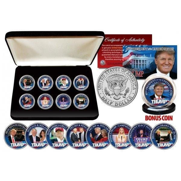 Donald Trump - Authentic JFK Half Dollar ULTIMATE 8-Coin Set With Premium Display Box And Bonus Coin - Unicorn Politics Shop