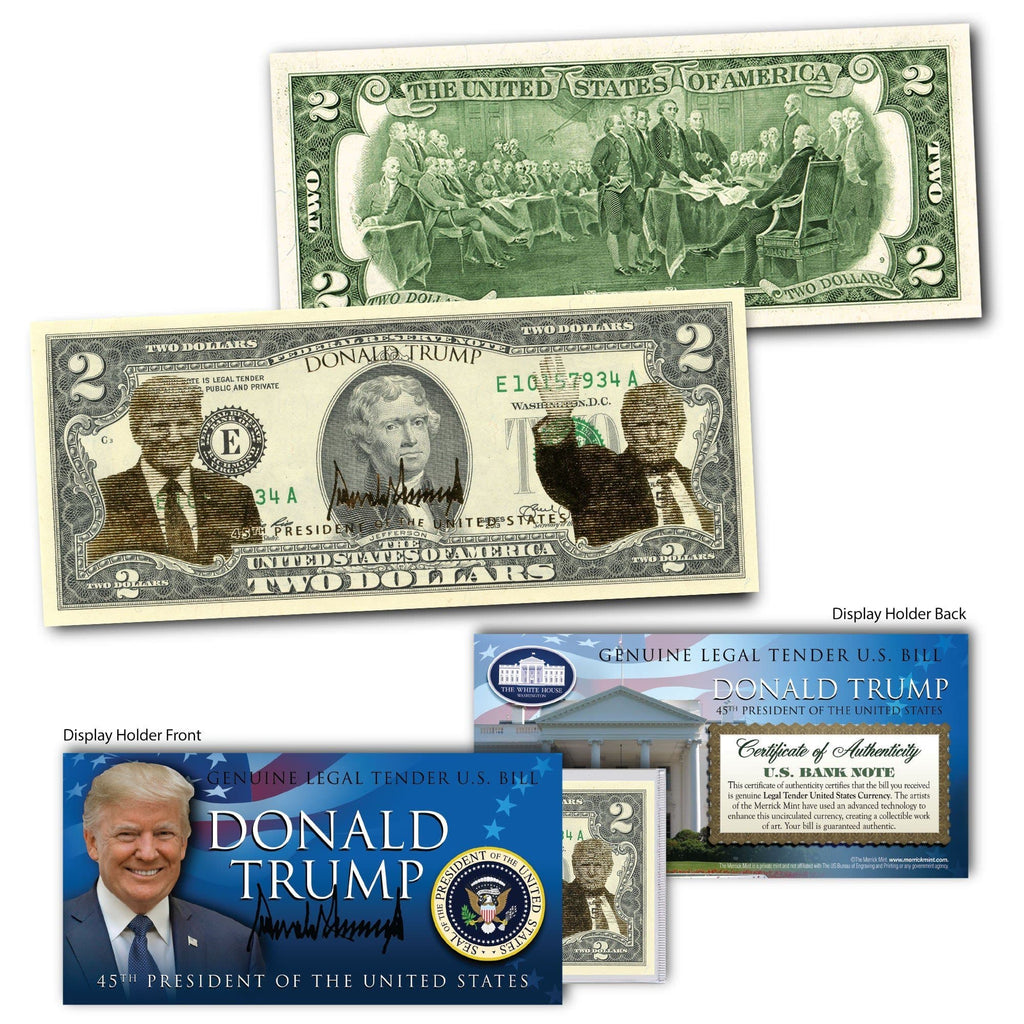 Donald Trump - Gold Foiled - Genuine Legal Tender U.S. $2 Bill - Proud Patriots