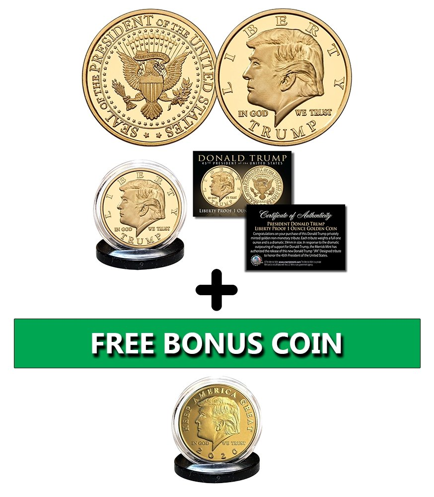 Donald Trump Liberty Proof Golden Coin + Bonus Coin - Proud Patriots