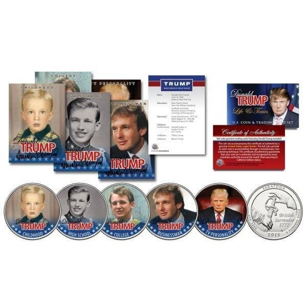 Donald Trump - Life & Times - 10 Piece Coin & Trading Card Collection