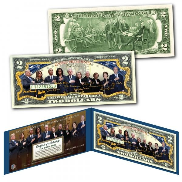 Donald Trump - Living Presidents And First Ladies - Genuine Legal Tender U.S. $2 Bill - Unicorn Politics Shop