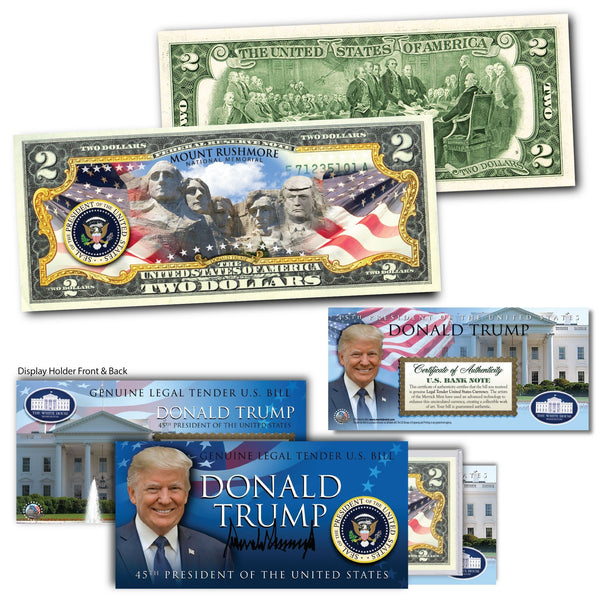 """Donald Trump - Mt.Rushmore"" - Genuine Legal Tender U.S. $2 Bill - Proud Patriots"