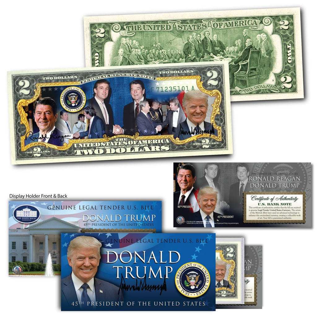 """Donald Trump & Ronald Reagan"" - Genuine Legal Tender U.S. $2 Bill - Proud Patriots"
