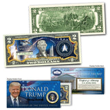 "Donald Trump - ""Space Force"" - Genuine Legal Tender U.S. $2 Bill - Unicorn Politics Shop"