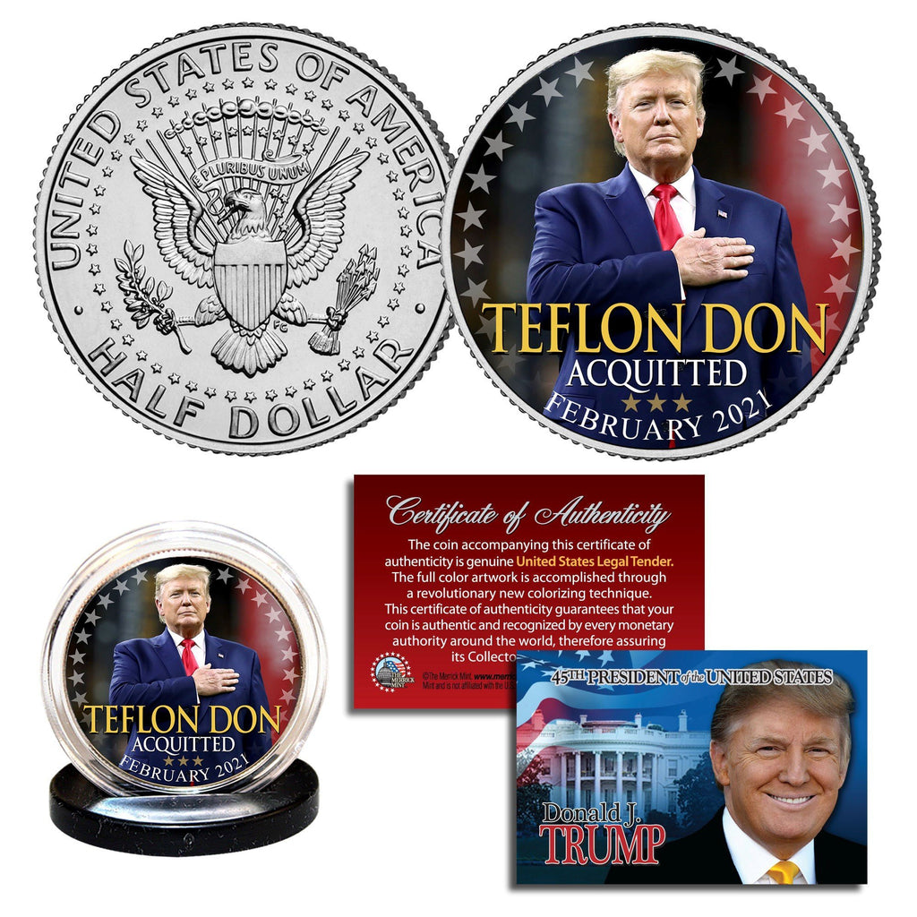 "Donald Trump - ""Teflon Don"" - Authentic JFK Half Dollar - Proud Patriots"