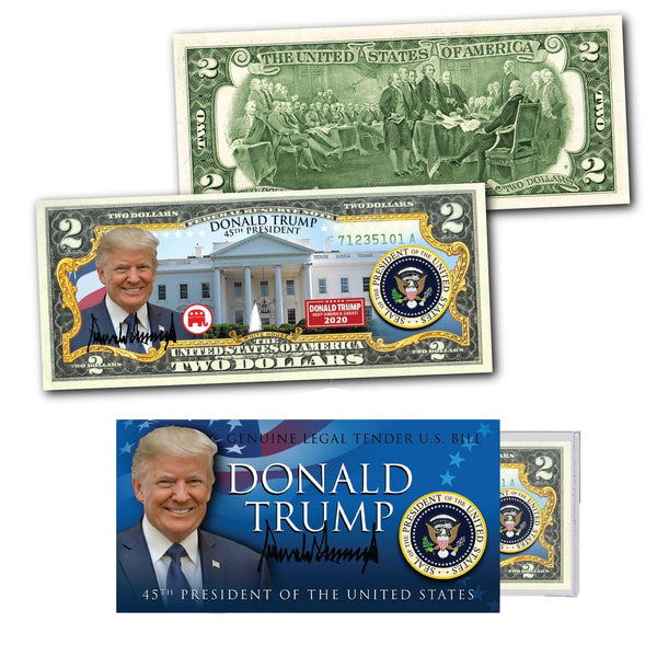 "Donald Trump - ""Trump 2020"" - Genuine Legal Tender U.S. $2 Bill - Proud Patriots"