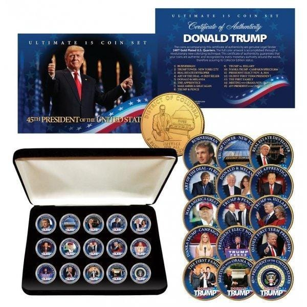 Donald Trump - Ultimate 15-Coin 24K Gold Plated Washington DC Quarter Set with Premium Display Box - Unicorn Politics Shop
