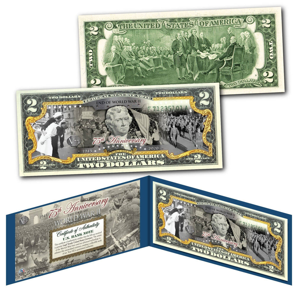 """End Of WWII 75th Anniversary"" Authentic Genuine U.S Legal Tender $2 Bill - Proud Patriots"
