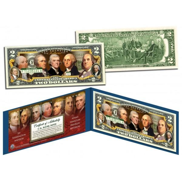 FOUNDING FATHERS OF THE UNITED STATES Colorized Obverse $2 Bill Genuine U.S. Legal Tender - Proud Patriots