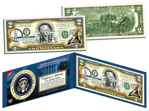 """George Washington"" - Genuine Legal Tender U.S. $2 Bill - Proud Patriots"
