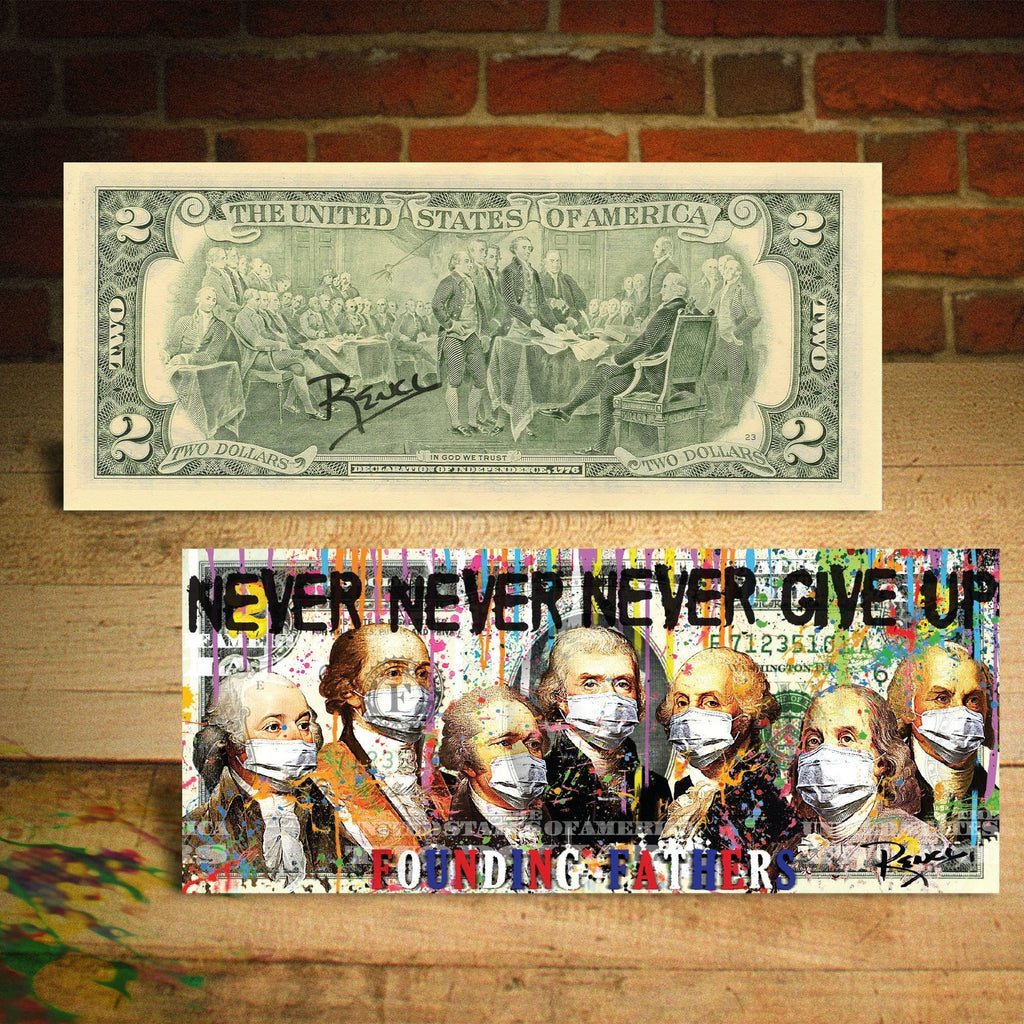 Germ Warfare Awareness - The Founding Fathers of the U.S. Face Mask POP Art Genuine $2 Bill Hand Signed by Rency - Proud Patriots