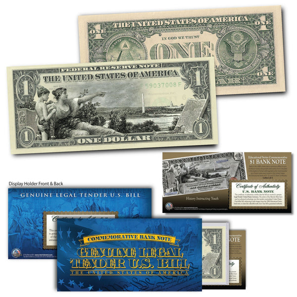 """History Instructing Youth"" - Genuine Legal Tender U.S. $1 Bill - Proud Patriots"