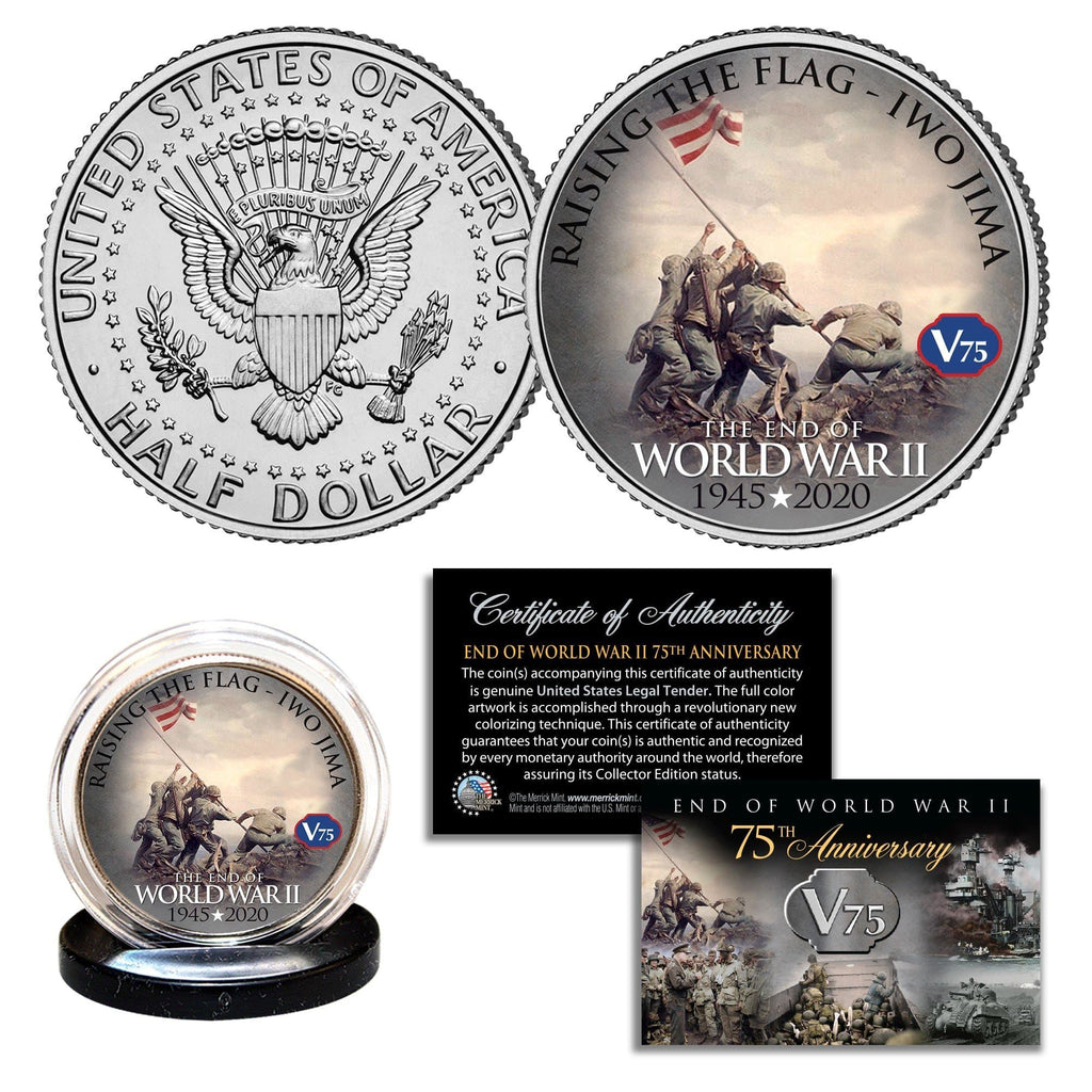 """IWO JIMA"" Authentic JFK Half Dollar - Proud Patriots"