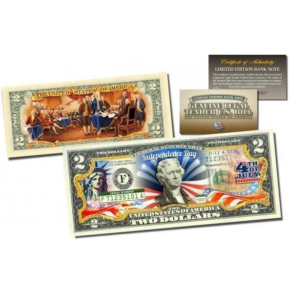 July 4th Independence Day *2-Sided* Official Genuine Legal Tender $2 U.S. Bill - Proud Patriots