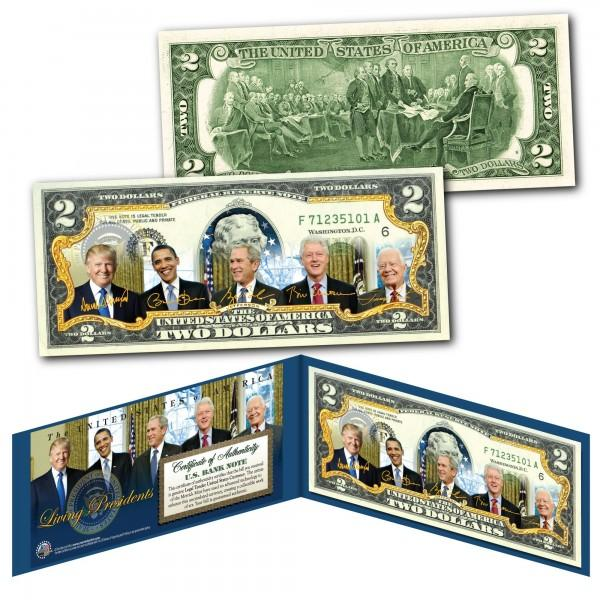 Living Presidents Two Dollar BIll - Unicorn Politics