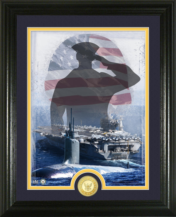 Navy Patriotic Bronze Coin Vertical Photo Mint - Proud Patriots