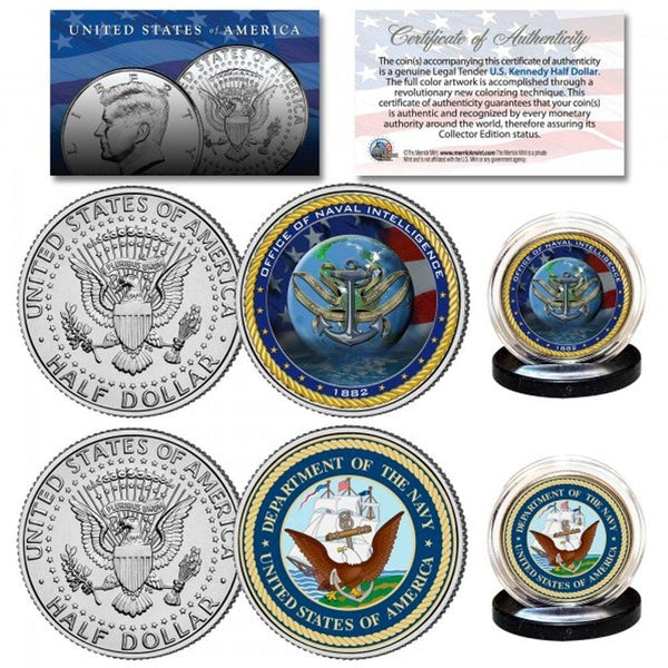 Navy & USN Intelligence Branch Authentic JFK Half Dollar 2-Coin Set - Unicorn Politics Shop