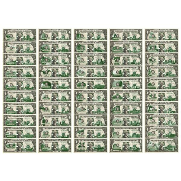 "Set of 50 STATE $1 Bills - Genuine Legal Tender - U.S. One-Dollar Currency "" Green "" - Proud Patriots"