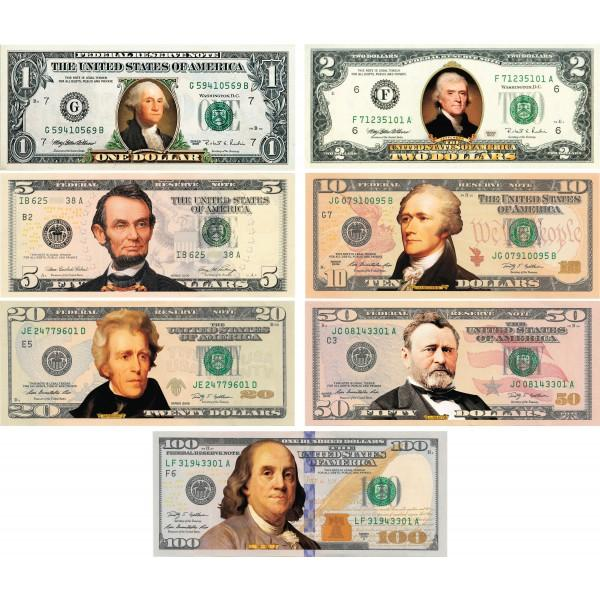 Set of all 7 - COLORIZED 2-SIDED U.S. Bills Currency $1 / $2 / $5 / $10 /$20 / $50 / $100 - Proud Patriots