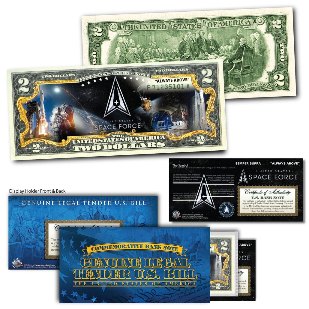 """Space Force"" New Logo - Genuine Legal Tender U.S. $2 Bill"