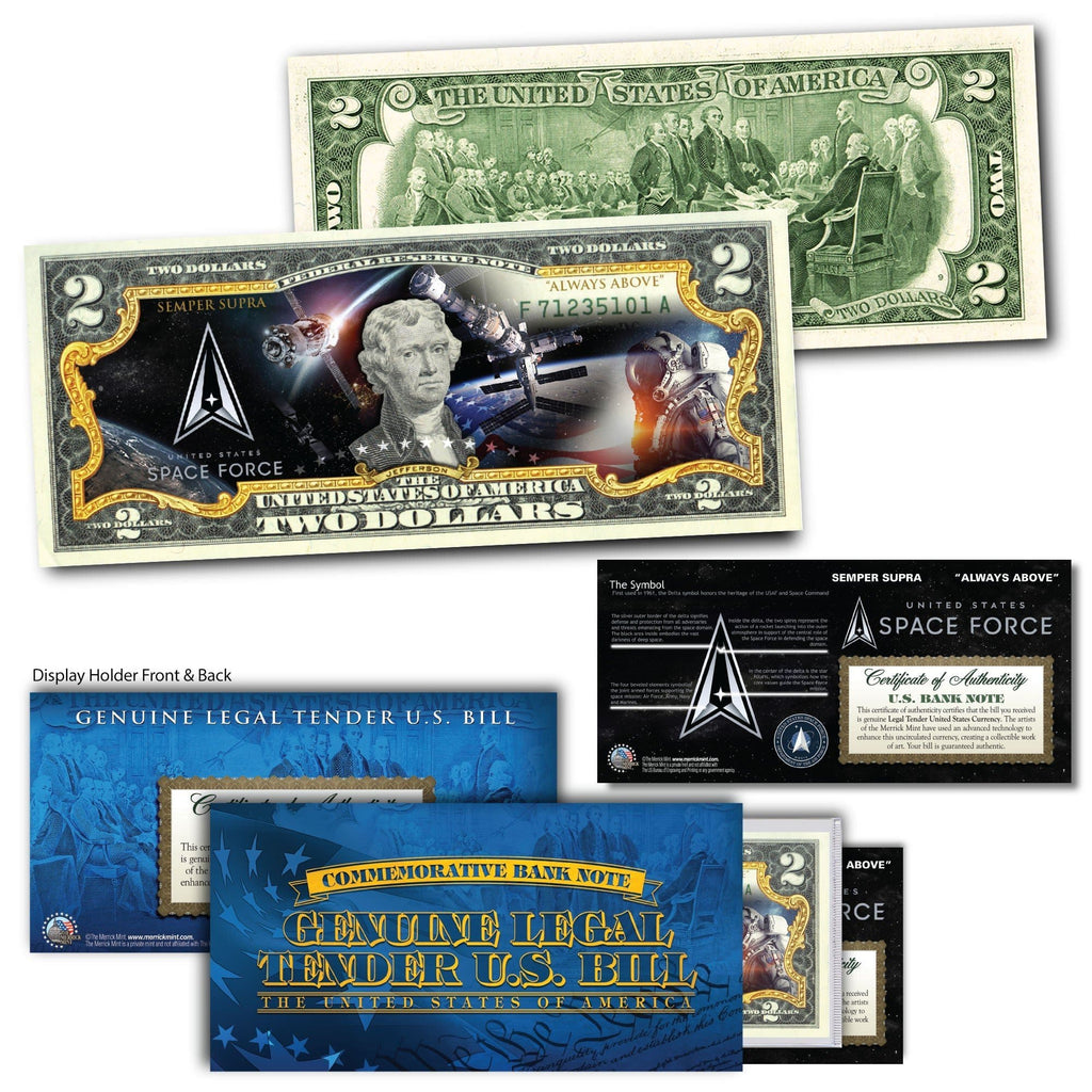 """Space Force"" New Logo - Genuine Legal Tender U.S. $2 Bill - Proud Patriots"