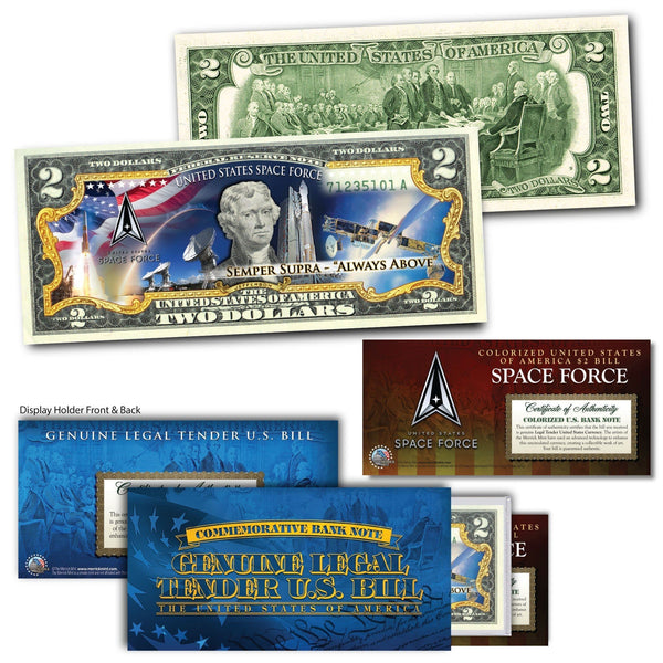 """Space Force"" With Motto - Genuine Legal Tender U.S. $2 Bill - Proud Patriots"
